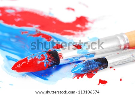 brush and paint scratch isolated on white - stock photo