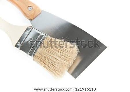 Brush and spatula - stock photo
