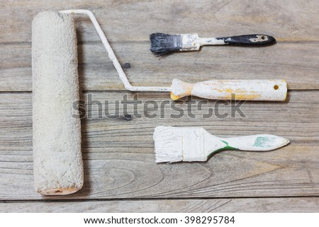 Brush for paint and the roller for paint. Tool