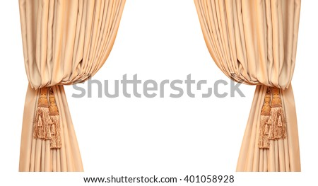 Brush on the curtains in beige room. - stock photo