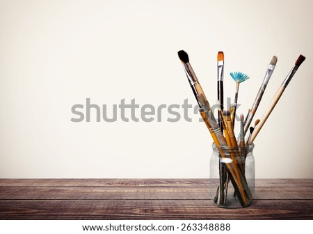 Brush, paint, artistic. - stock photo