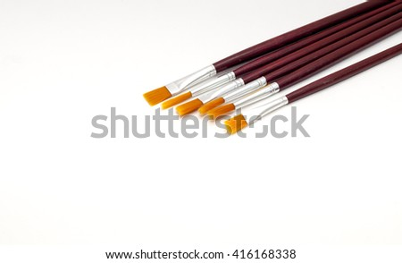 Brush painting isolated on white - stock photo