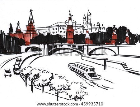 Brush pen drawing of a center of Moscow: Kremlin quay and bridge crossing Moscow river