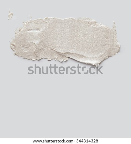 brush stroke on gray empty wall - stock photo
