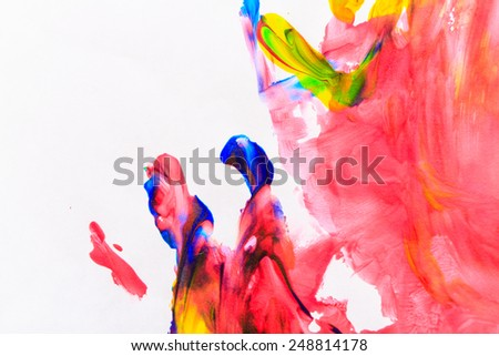 Brush strokes. Varicolored abstract background drawn by oil paints