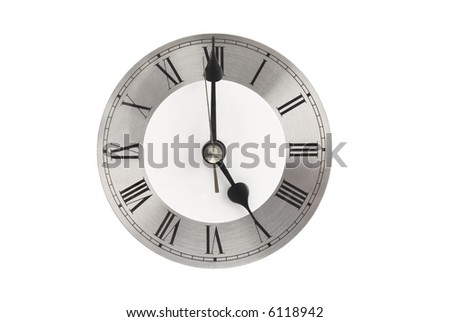 Brushed aluminium clock face with Roman numerals isolated on white showing time of 5 o'clock – time to leave work