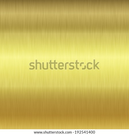 Brushed gold plate texture with reflections - stock photo