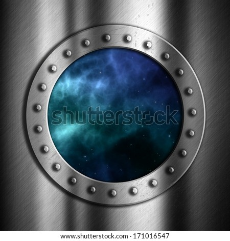 Brushed metal background with porthole looking out to space