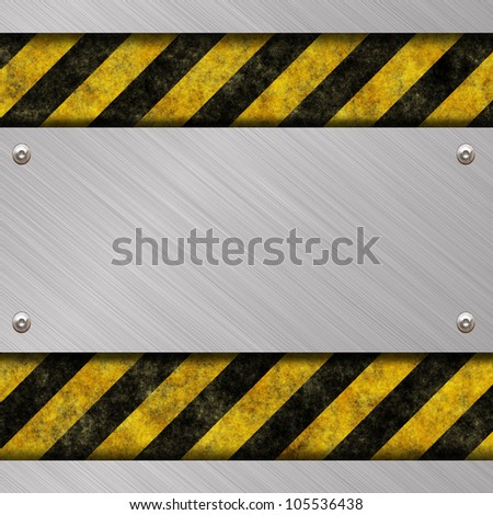 brushed metal banner and warning sign - stock photo