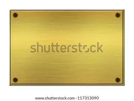 Brushed metal golden plate background.