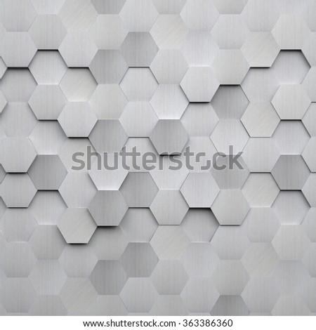 Brushed Metal Hexagon Background - stock photo