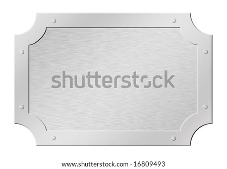 Brushed silver tablet having polished frame and rivets isolated on white