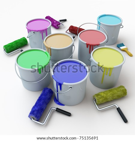 brushes and buckets of paint on a white background - stock photo