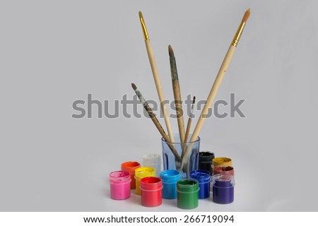 brushes and paint for painting