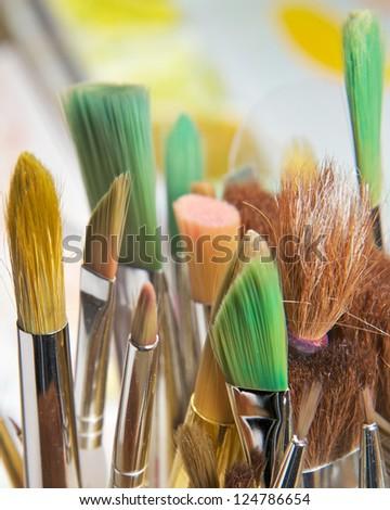 Brushes Close Up - stock photo