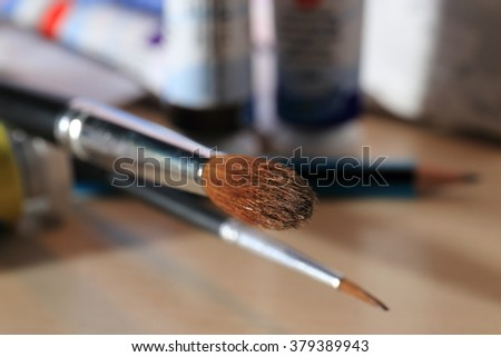 Brushes for painting on canvas background