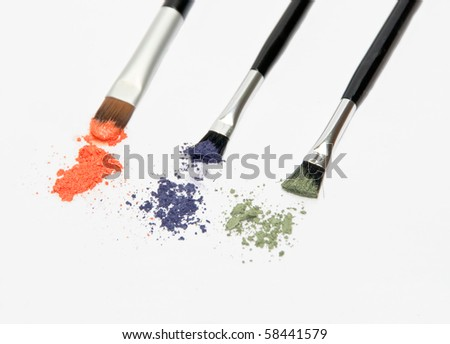 Brushes with eye shadows - stock photo