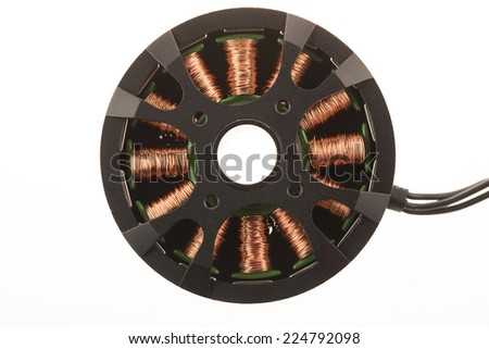 Brushless motor isolated on white. - stock photo