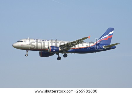 BRUSSELS - APRIL 2: Airbus A320-200 of Aeroflot approaching Brussels Airport in Brussels, BELGIUM on APRIL 2, 2015. Aeroflot s the flag carrier and largest airline of the Russian Federation. - stock photo