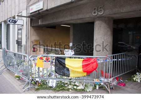 BRUSSELS - APRIL 1: The entrance in Maelbeek metro station where a terrorist attack took place on March 22. Photo taken on April 1, 2016 in Brussels, Belgium.