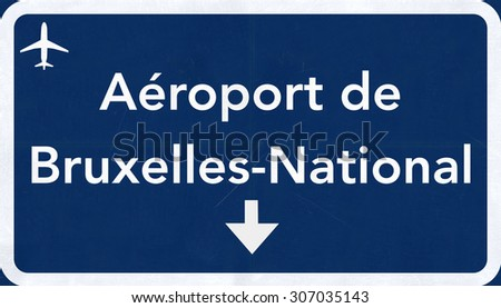 Brussels Belgium Airport Highway Sign 2D Illustration