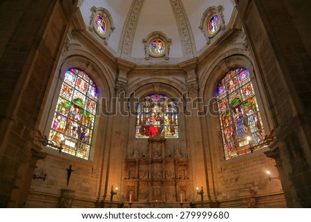 Brussels, Belgium - APR 11 2015: Beautiful stained glass windows inside the Cathedral of St Michael and St Gudula  - stock photo