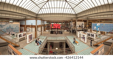 BRUSSELS, BELGIUM - 24 APRIL, 2016: Art Nouveau palace and Belgian Comic Strip Center. Art Nouveau in Brussels and comics in Belgium is a world phenomenon. Building designed by Victor Horta - stock photo