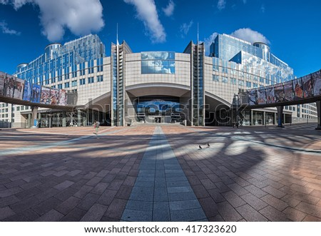 BRUSSELS, BELGIUM - 23 APRIL, 2016: Building of the European Parliament in Brussels, Belgium on 23 April, 2016.
