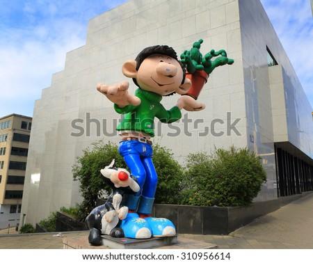 BRUSSELS, BELGIUM-April 17: Defile of giant cartoon characters  on April 17, 2015 in Brussels, Belgium. - stock photo
