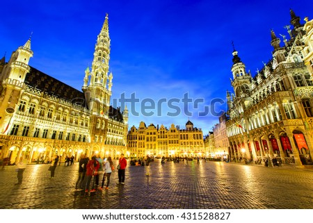 BRUSSELS, BELGIUM - APRIL 13, 2016: Grand Palace or Grote Markt is the central square of Brussels. It is surrounded by opulent guildhalls and larger edifices, the city's Town Hall and the Breadhouse.