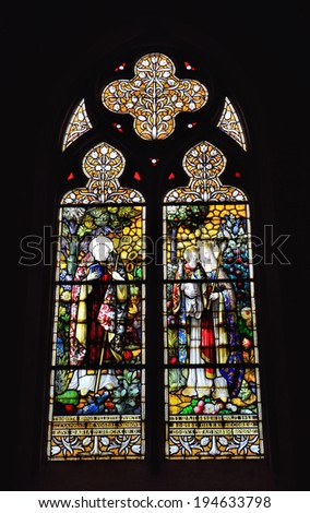 BRUSSELS, BELGIUM-APRIL 26, 2014: Stained glass window in neogothic Saint Barbara Church constructed in 1869