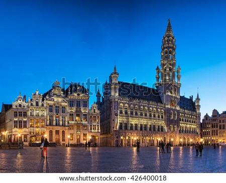BRUSSELS, BELGIUM - 20 APRIL, 2016: The famous Grand Place in blue hour in Brussels, Belgium on 20 April, 2016. - stock photo