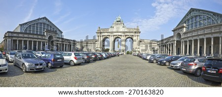 BRUSSELS, BELGIUM - APRIL 16, 2015: The Triumphal Arch (Arc de Triomphe) in the Cinquantenaire park in Brussels. Built in 1880 for the 50th anniversary of Belgium.