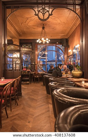 BRUSSELS, BELGIUM - 16 APRIL, 2016: Typical Art deco style bar in Brussels, near to Grand Place, Belgium on 16 April, 2016. - stock photo