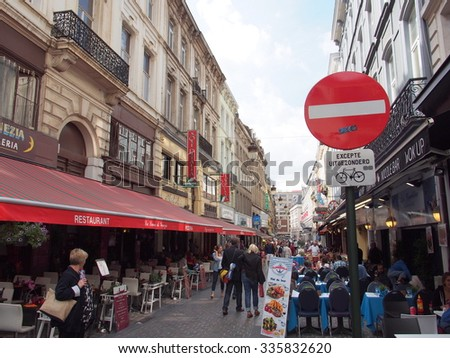 BRUSSELS, BELGIUM - AUG 13: Street view of Brussels in Belgium on August 13, 2013. Brussels is the capital of Belgium. - stock photo