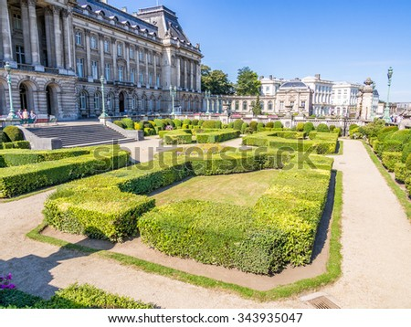 BRUSSELS, BELGIUM - AUG 16: The garden of Royal Palace of Brussels in Belgium on August 16, 2013. Brussels is the capital of Belgium.