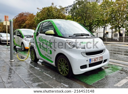 BRUSSELS, BELGIUM-AUGUST 20, 2014: Auto of Zen Car Electric Drive are the first in Brussels electric cars for hire in center of the city - stock photo