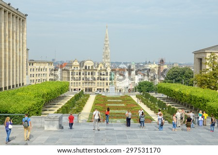 BRUSSELS, BELGIUM-AUGUST 22, 2013: Mont des Arts in Brussels crowded by tourists. - stock photo