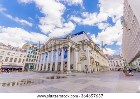 BRUSSELS, BELGIUM - 11 AUGUST, 2015: Spectacular facade of the Theatre Royal La Monnaie De Munt with its stunning details and architecture