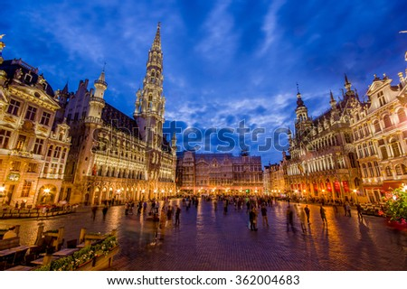 BRUSSELS, BELGIUM - 11 AUGUST, 2015: Stunning photo of spectacular Gran Place main square during beautiful sunset.