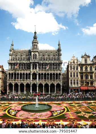 BRUSSELS, BELGIUM – AUGUST 14 : The Brussels flower carpet with EU logo in the centre, honouring the Belgian presidency of the EU on August 14, 2010. The Begonia carpet is created every two years.