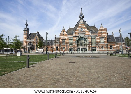 BRUSSELS, BELGIUM - AUGUST 31, 2015: The Schaerbeek railway station renovation before the inauguration of the Train World museum. - stock photo
