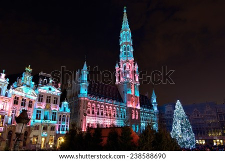 BRUSSELS, BELGIUM-DECEMBER 14, 2014: Christmas illumination of Grand Place in Brussels in frame of Winter Wonders celebration events - stock photo