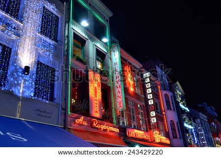 BRUSSELS, BELGIUM-DECEMBER 14, 2014: Christmas illumination of Vismet square during Winter Wonders public festivities