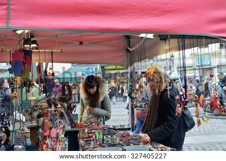 BRUSSELS, BELGIUM-DECEMBER 06, 2014: Christmas Market in center Brussels, very popular between local people and tourists