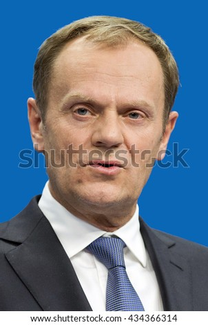 Brussels, Belgium - December 15, 2015: Donald Tusk - *22.04.1957: Polish politician of the Civic Platform, President of the European Council since 2014, former Prime minister of Poland 2007 to 2014.