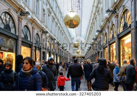 BRUSSELS, BELGIUM-DECEMBER 6, 2014: Gallery St. Hubert in historical center of the city decorated for Christmas celebrations