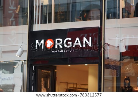 Brussels, Belgium - December 9, 2017: Morgan De Toi store. Morgan de Toi is a clothing brand, owned by the French company Morgan SA
