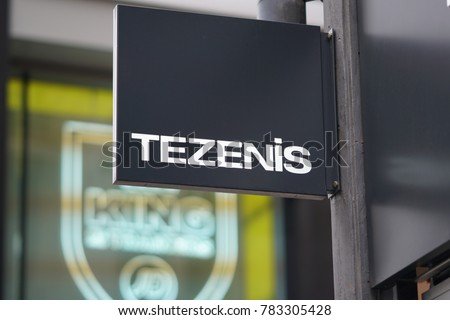 Brussels, Belgium - December 9, 2017: Tezenis store signage. Tezenis is an Italian fashion brand that produces underwear, socks and costumes for women, men and children. It belongs to Calzedonia Group