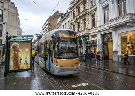 Brussels, Belgium - December 19th 2014 - The downtown train of Brussels in a cloudy, overcast winter day in Belgium